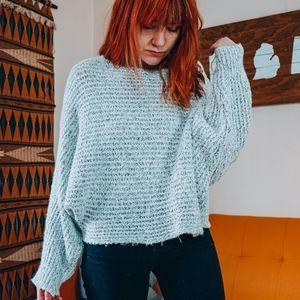 Vintage Grey Cropped dolman sleeve sweater